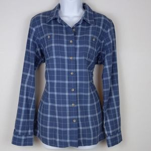 Duluth trading blue plaid button down shirt size S